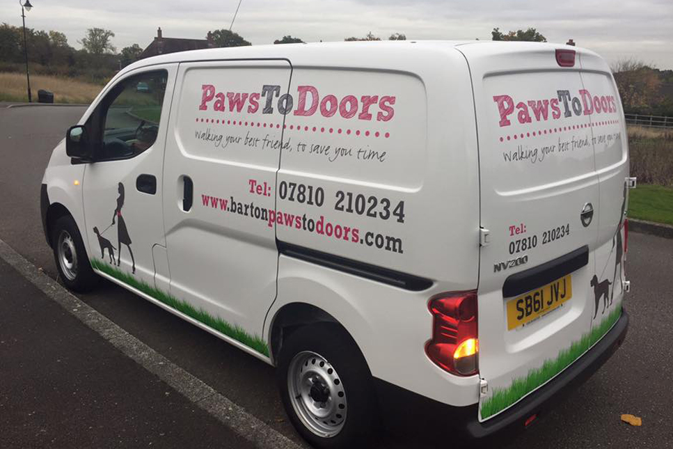 pet taxi, dog walker, barton paws to doors van